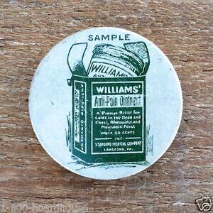 2 Original Vintage WILLIAMS' ANTI PAIN Empty Ointment Salve RX Pill Tin 1900s