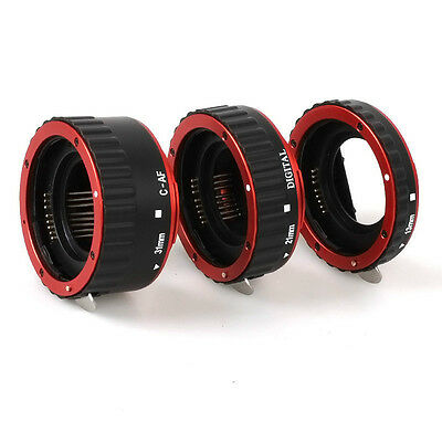 Red Metal Auto Focus AF Macro Extension Tube/Ring for Kenko CANON EOS EF-S Lens