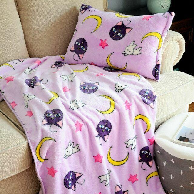 Netter Anime Sailor Moon Katze Flanell Decke Bettdecke Plüsch Blätter Kissen