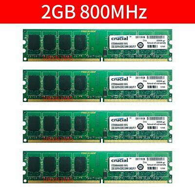 8GB Kit Crucial 4X 2GB 2Rx8 PC2-6400U DDR2 800Mhz DIMM 240pin Desktop Memory RAM