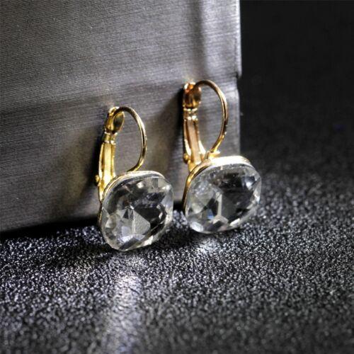Boucles d/'Oreilles Dormeuse Doré Carré Cristal Blanc Facetté Simple CC12