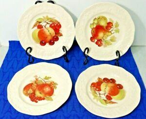 LOT-of-4-Mason-039-s-Oak-Fruit-Center-Embossed-Edge-8-034-Salad-Plates-England