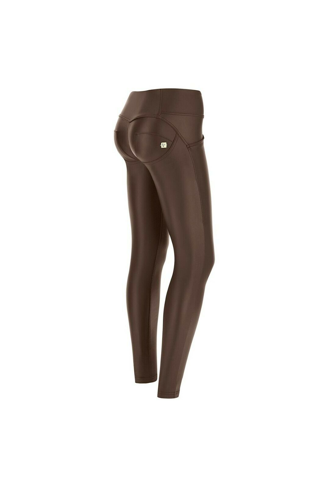 FREDDY WR.UP® SHAPING EFFECT PANTS - MID WAIST - SKINNY FIT - FAUX LEATHER BROWN
