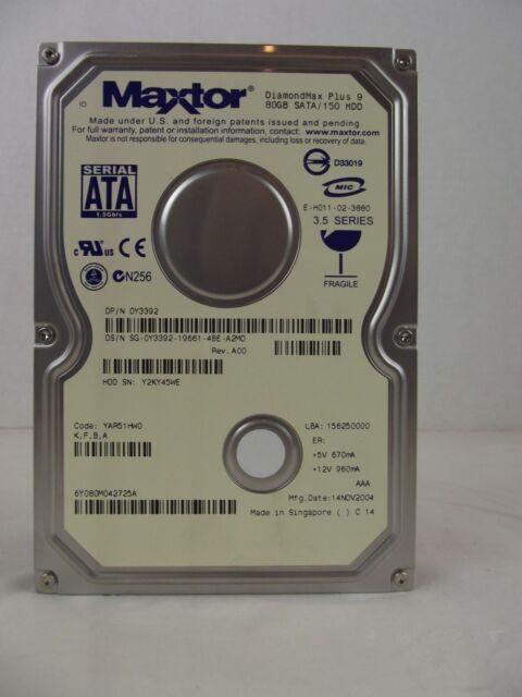 MAXTOR DIAMONDMAX PLUS 9 80GB SATA DRIVER WINDOWS XP
