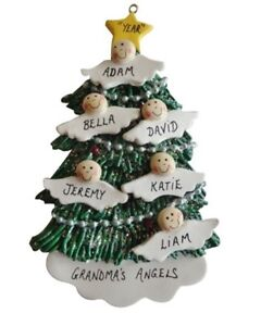 Personalized Angel Tree Family of  6 Christmas Ornament