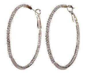 Swarovski-Elements-Crystal-2-034-Baha-Hoop-Pierced-Earrings-Rhodium-Authentic-7215v
