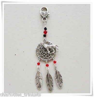 Dream Catcher Wolf Crystal bead Feathers Key ring . Bag Charm Dangle - Handmade