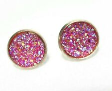 ROSE GOLD SPARKLING PINK DRUZY RESIN ROUND CLIP ON EARRINGS 12MM