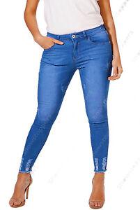 NEW-Plus-Size-16-18-20-22-24-26-Womens-Blue-Skinny-Stretch-Jeans-Hem-Frayed