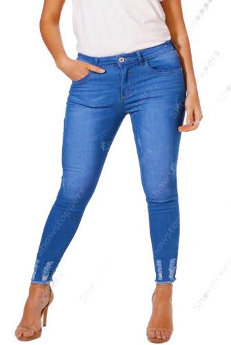 NEU Plus Size 16 18 20 22 24 26 Damen Blau Skinny Stretchjeans Saum ausgefranst
