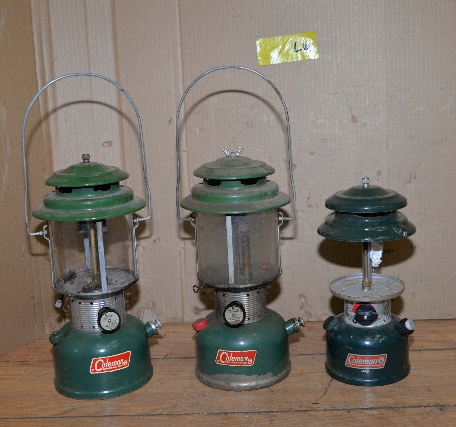 3 Coleman gas lanterns two 220F & 288 collectible camping tool lot lamp L6