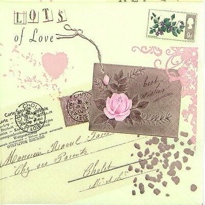 Love Letter 4x Paper Napkins for Decoupage Decopatch Craft