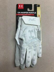 f029ec597a Details about Under Armour UA Harper Hustle Youth Baseball Batting Gloves  Leather HeatGear