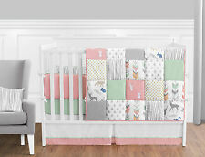 Coral Pink Gray Mint Deer Woodland Girl Baby Bedding 9P Crib Set Room Collection