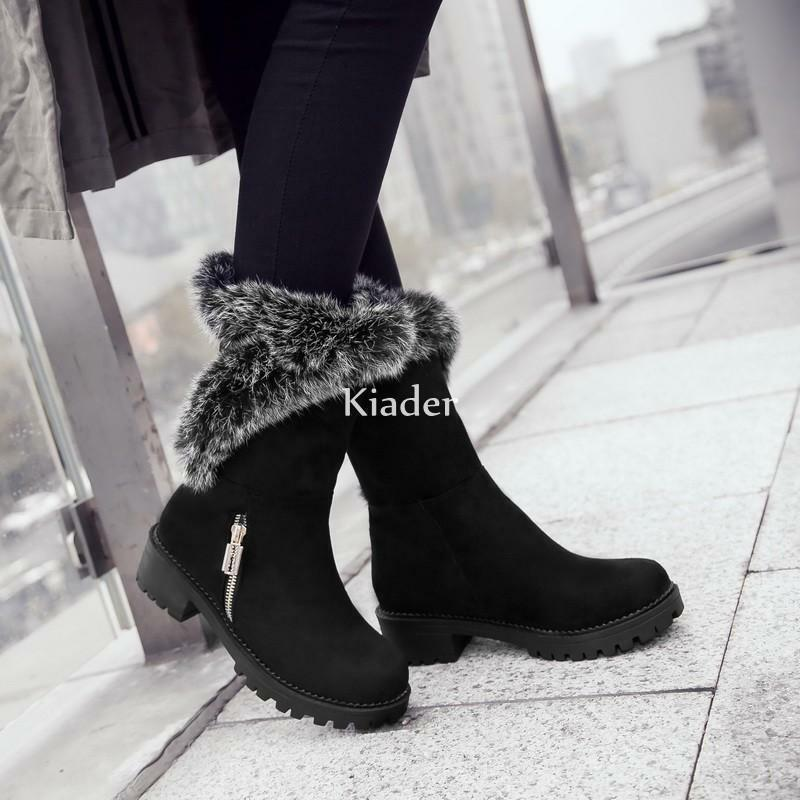 596520859a Womens Pull Winter Warm Mid Calf Faux Suede Low Heels shoes Fur Trim ...
