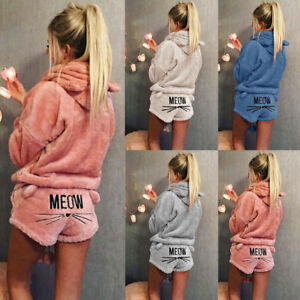 Women-Solid-Warm-Winter-Pajamas-Set-Two-Piece-Cute-Cat-MEOW-Hoodie-Sleepwear-NEW