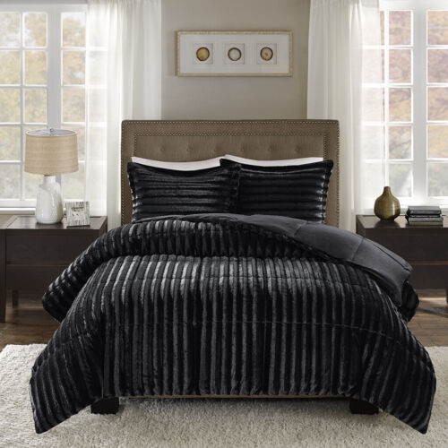 NEW ~ COZY ULTRA SOFT PLUSH MODERN LUXURY LUXURIOUS RICH BLACK FUR COMFORTER SET
