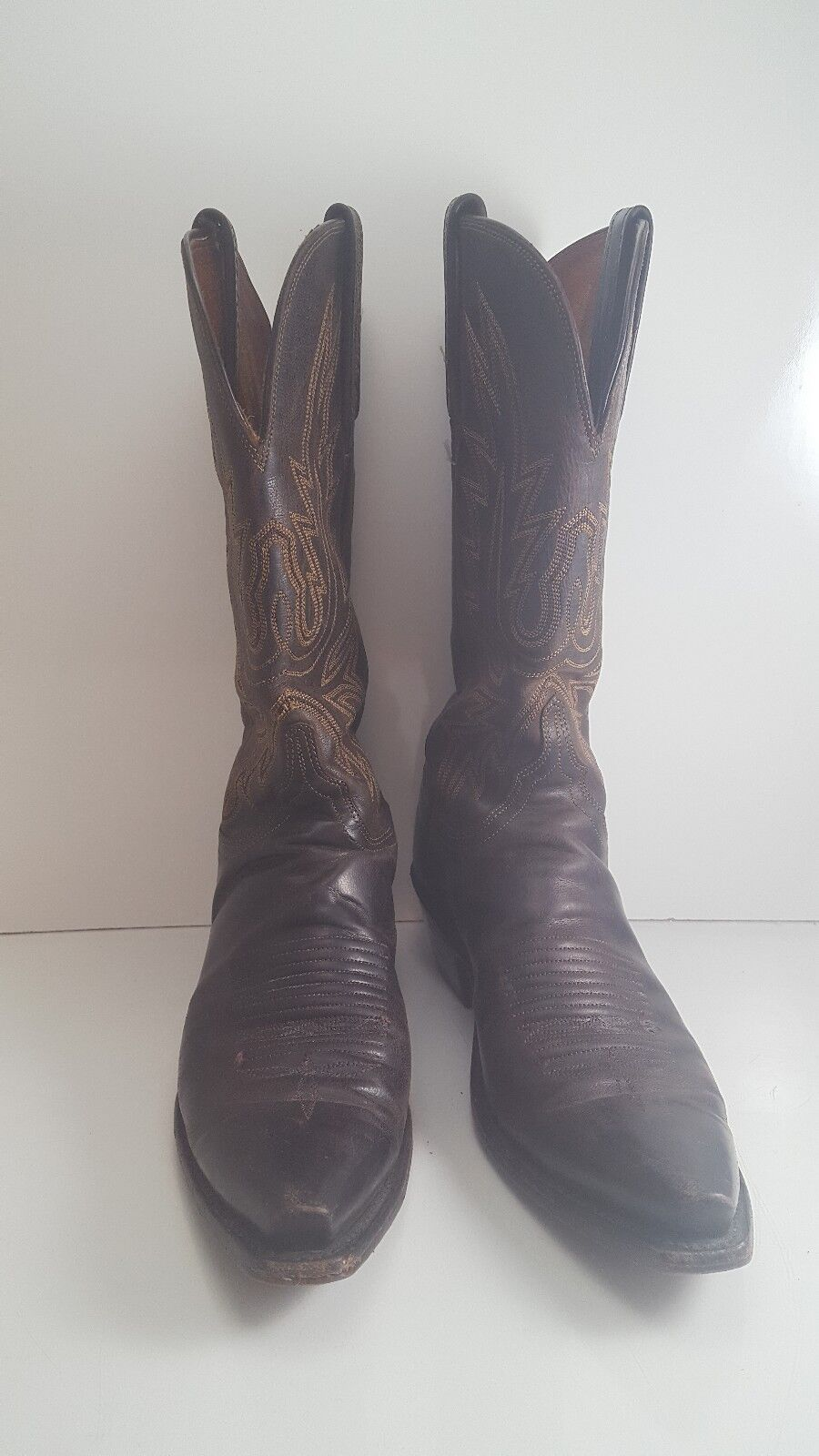 GENUINE LUCHESE 1883BROWN LEATHER WOMEN'S COWBOY BOOTS, SIZE 8