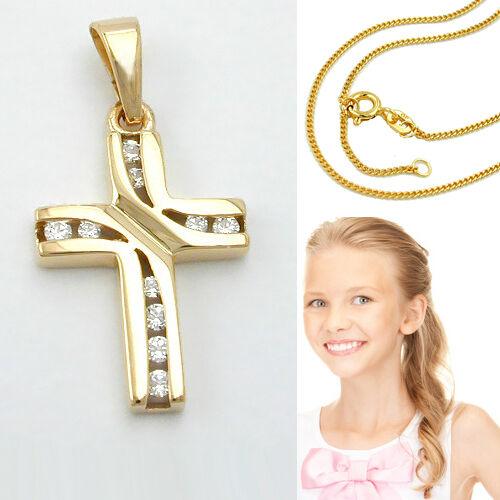 Echt Gold 333 Taufe Kommunion Zirkonia Kreuz Anhänger mit Silber Kette vergoldet