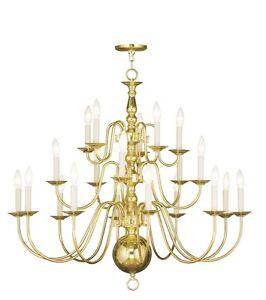 Details About 20 Lights Foyer Livex Polished Br Williamsburg Chandelier Lighting 5019 02