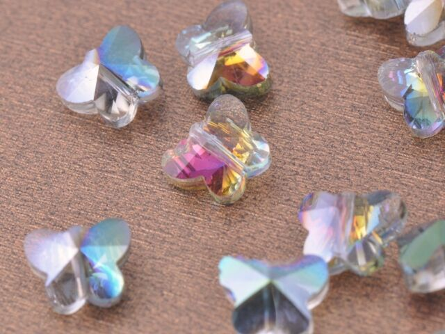 30pcs 10mm Butterfly Faceted Crystal Glass Charms Finding Loose Spacer Beads Lot
