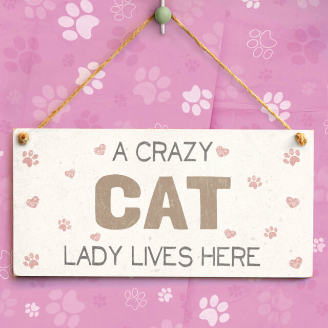 A Crazy Cat Lady Lives Here - Cute Hanging Sign Novelty Gift Idea For Cat Lovers