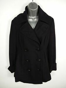 WOMENS-NEXT-NAVY-BLUE-BUTTON-UP-DOUBLE-BREASTED-SMART-WOOL-PEA-COAT-JACKET-UK-10