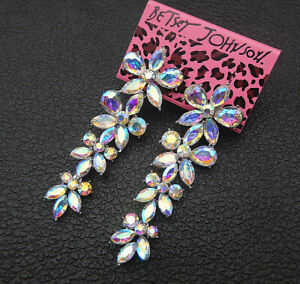 Women-039-s-AB-Crystal-Rhinestone-Flower-Betsey-Johnson-Stud-Earrings
