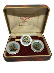 Vintage Gold Tone Checkered Cuff Links
