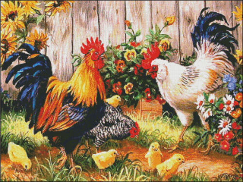 Chart Counted Cross Stitch Patterns DIY Needlework for embroidery Chickens