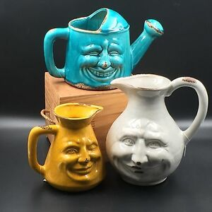 Ceramic Face Water Pots Watering Can Whimsical Funny Happy Vase Decoration