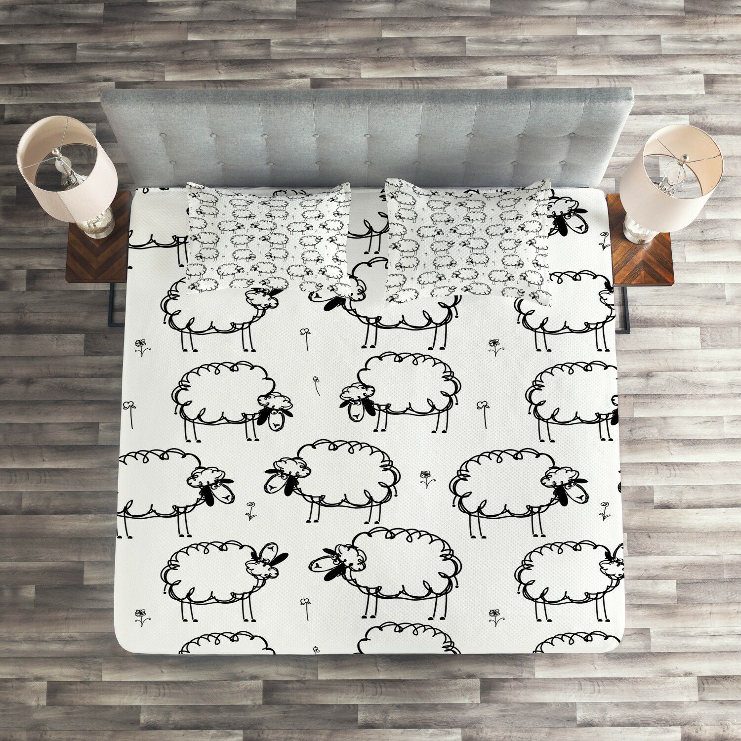 Animal Quilted Coverlet & Pillow Shams Set, Funny Sheeps on a Meadow Print