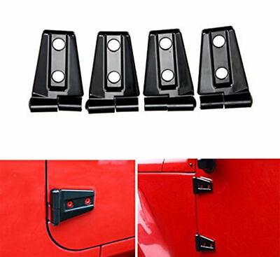 Black ABS Car Door Hinge Cover Trim Decor fits 2007-2018 Jeep Wrangler JK 2dr
