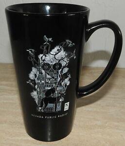Nevada Public Radio Tall Black Ceramic Mug Rare Promotional Item Cool Graphics