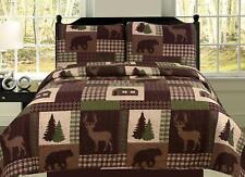 King, Queen, or Twin Quilt Set Rustic Cabin Lodge Deer Bear Coverlet Bedspread
