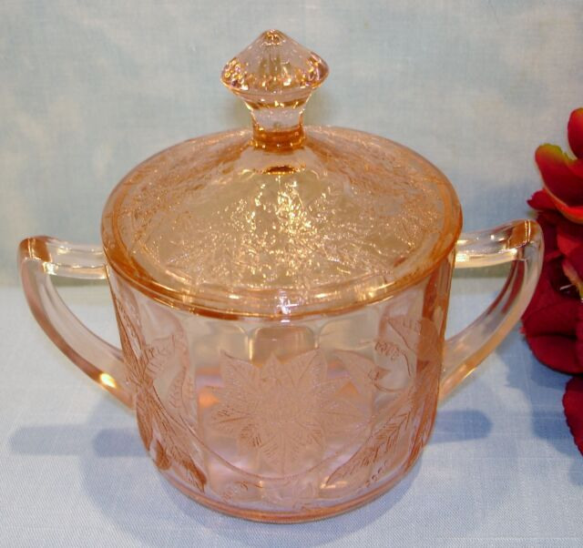 Jeannette Floral Pointsettia Pink Depression Glass Sugar and Lid