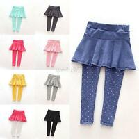 Toddler Baby Girls Warm Pantskirt Culotte Leggings Tutu Skirt Pants 1-7 Years