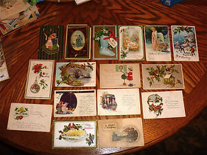 antique-Christmas-Postcards-17-early-mid-1900s-used-stamped
