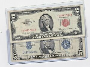 5 Note Lot $1 Blue Seal $1 *STAR* Note $2-1976 Note $2 Red Seal $5 Red Seal