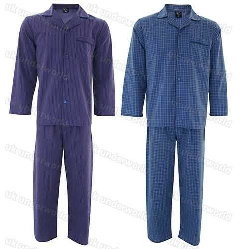 Mens Striped / Check Pyjamas Set Adults Polycotton Woven Pyjamas Night Sleepwear