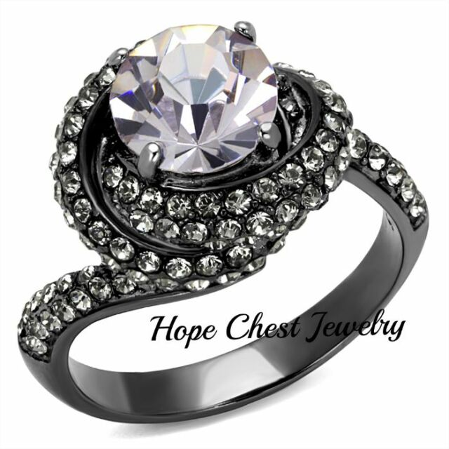 WOMEN'S DARK GRAY STAINLESS STEEL LAVENDER CRYSTAL ENGAGEMENT RING SIZE 5-10