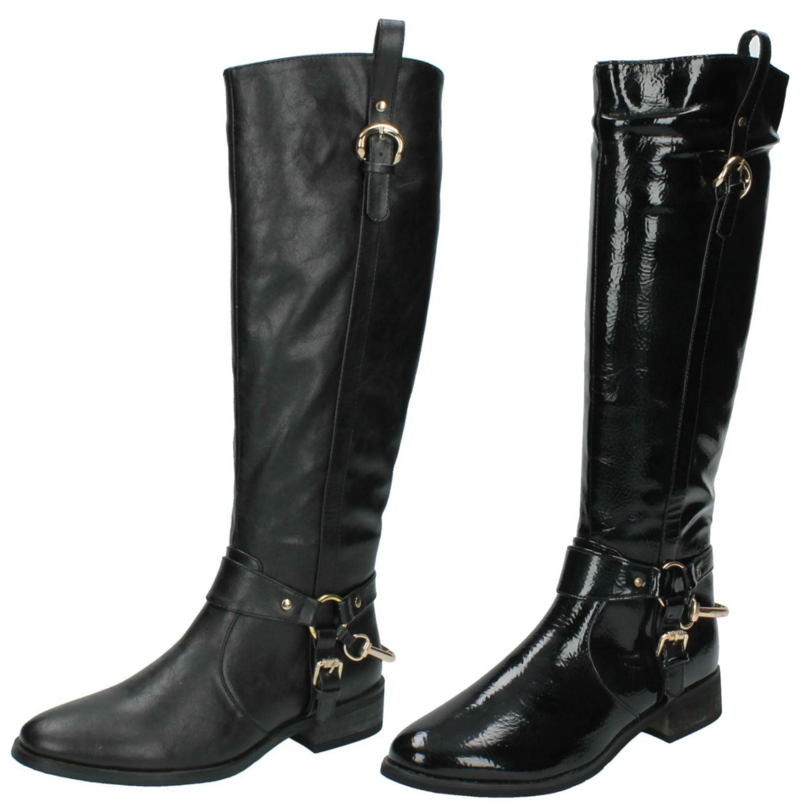 Ladies Spot On Low Heel High Leg Boot