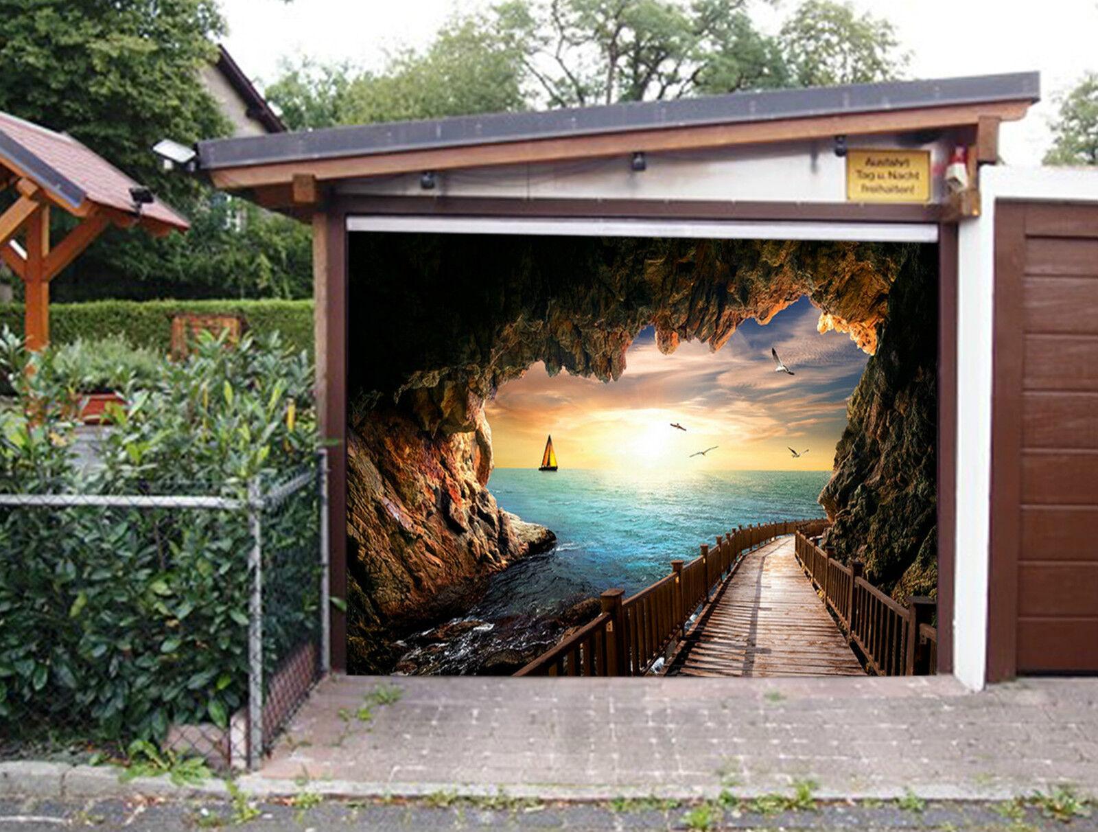 3D Sea Cave Bridge Garage Door Murals Wall Print Decal Wall Deco AJ WALLPAPER IE