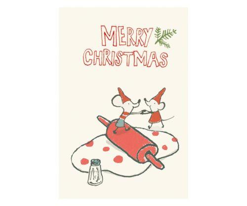 MAILEG Doppelkarte Weihnachtskarte mit Umschlag Karte Backende Mäuse NEU!