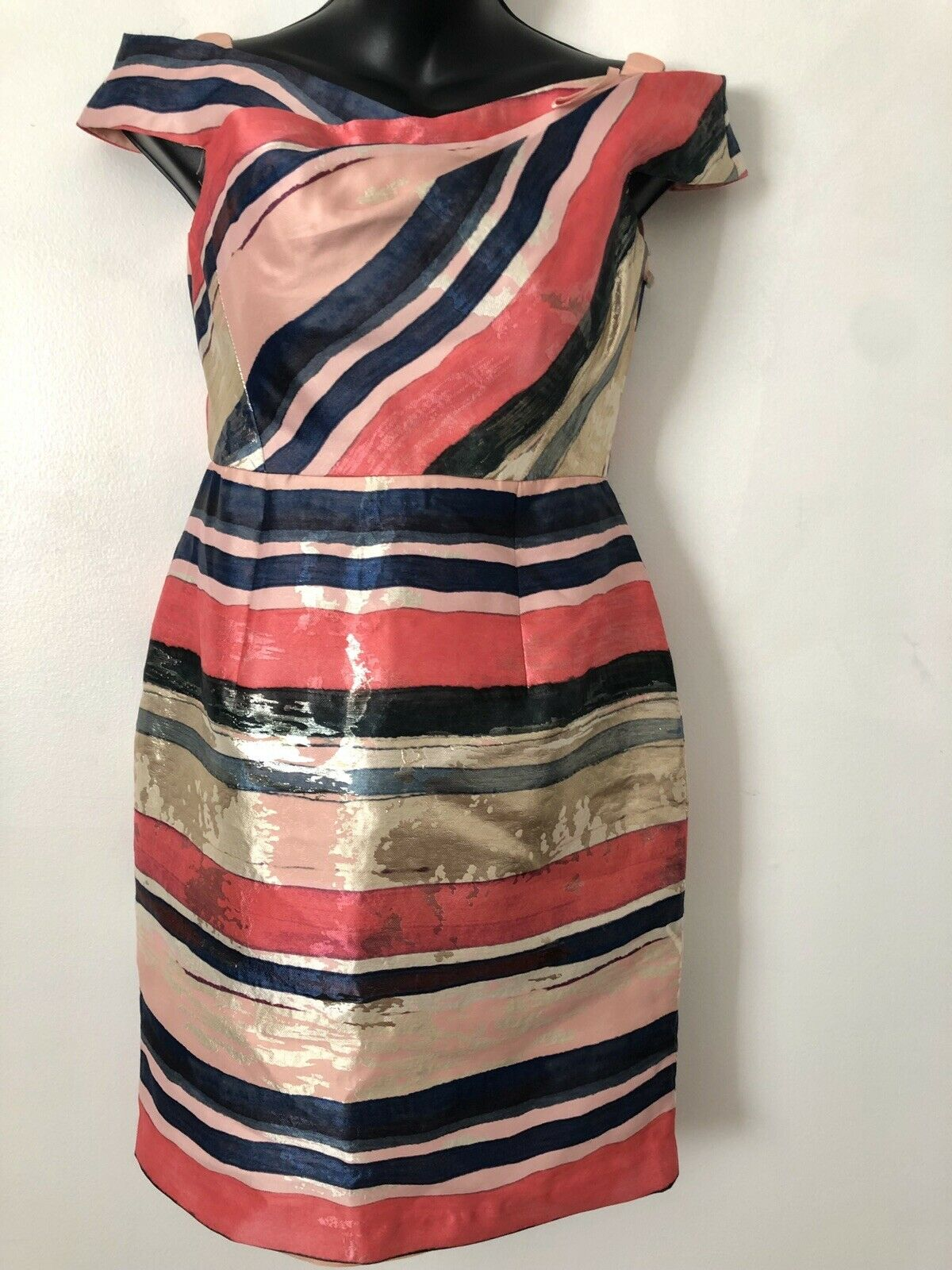 Adrianna Papell Womens Pink Off-The-Shoulder Pink Striped Mini Dress 2