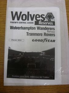 27-04-2000-Wolverhampton-Wanderers-Reserves-v-Tranmere-Rovers-Reserves-4-Pages