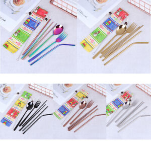 7Pcs-set-Cutlery-Set-Knife-Fork-Spoon-Straw-With-Cloth-Pack-Xmas-Snowman-Pattern