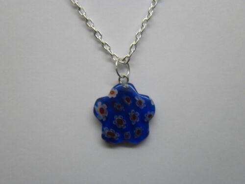 "Millefiori Lampwork Glass Star Pendant With 18/"" Necklace"