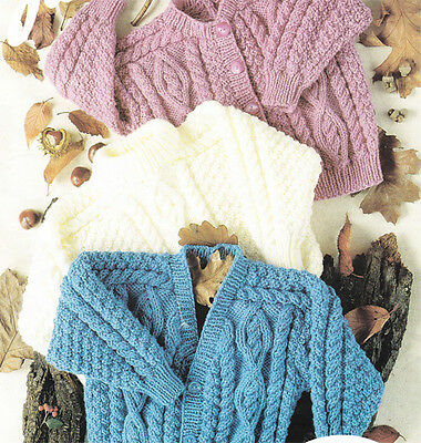 Knitting pattern-Childs Aran cardigans & sweater fits 22-32 chest- to Knit