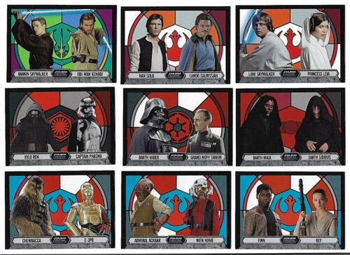 2016 Topps Star Wars Evolution Stained Glass Pairings Complete 9 card set